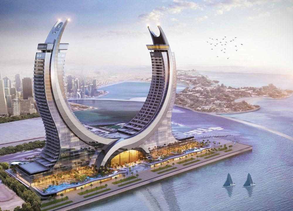 The luxury hotel complex in the harbour area of the planned city of Lusail will have apartments, offices, leisure facilities and restaurants in addition to hotel accommodation. Copyright: HBK Contracting Company
