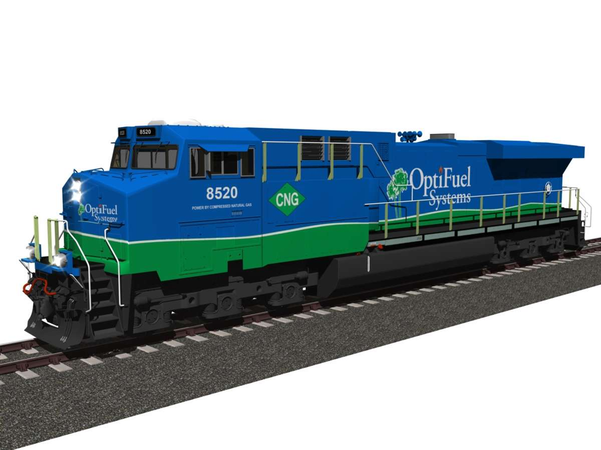 OptiFuel testing Natural Gas hybrid Locomotive to reduce emissions by 99.5 percent