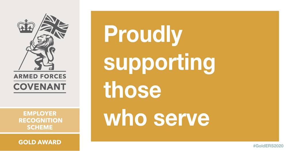 Finning UK recognised for support of armed forces with Gold standard award