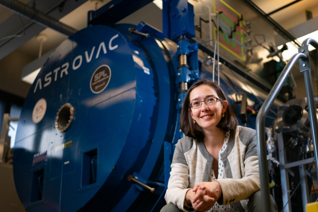 Carmen Guerra-Garcia, an assistant professor of aeronautics and astronautics at MIT, is the lead author of a new study analyzing the effect of wind on underground corona discharges. Image: Lillie Paquette, MIT School of Engineering