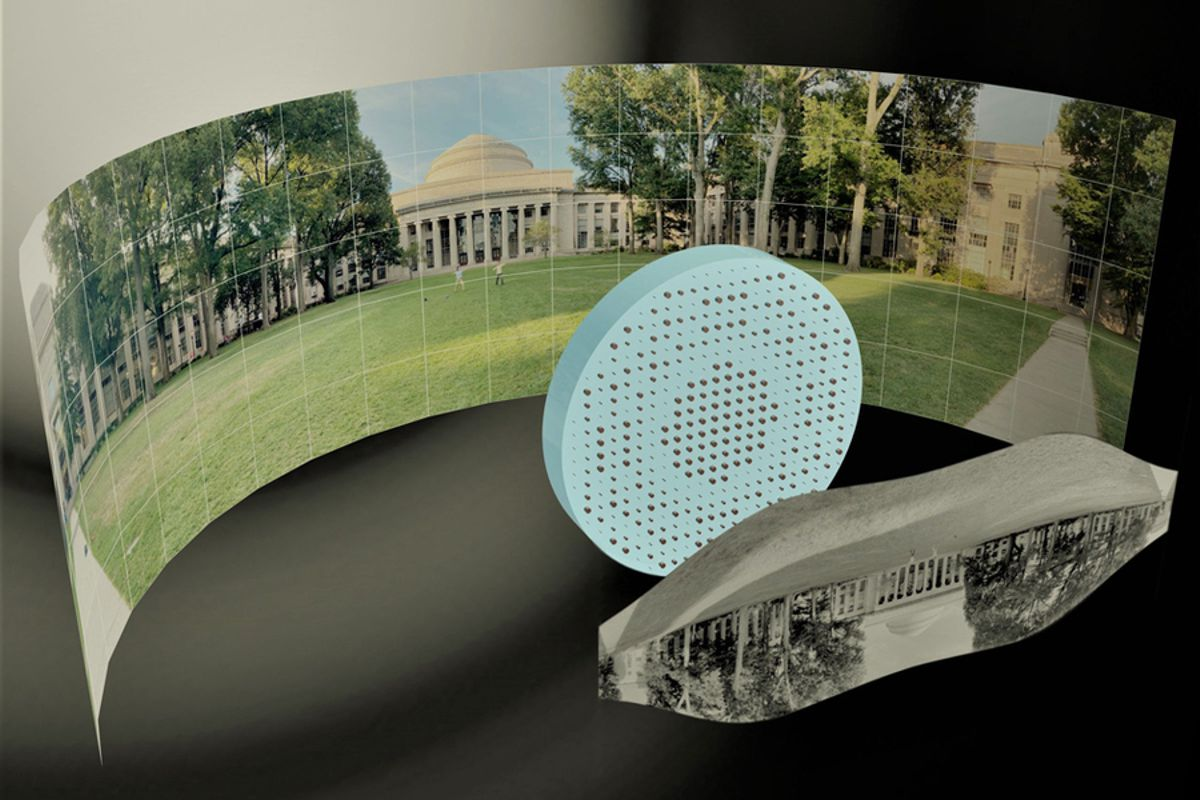 """3D artistic illustration of the wide-field-of-view metalens capturing a 180° panorama of MIT's Killian Court and producing a high-resolution monochromatic flat image."""" Image: Mikhail Shalaginov, Tian Gu, Christine Daniloff, Felice Hankel, Juejun Hu"""