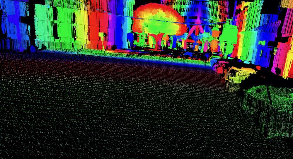 LiDAR point cloud output combining HD resolution and long-distance range.