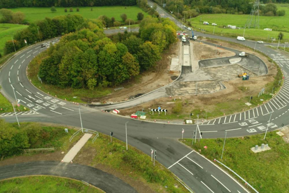 Aerial photograph of the new DVSA checking facility being developed within Bowdon roundabout during the construction of the new A556 bypass in 2016