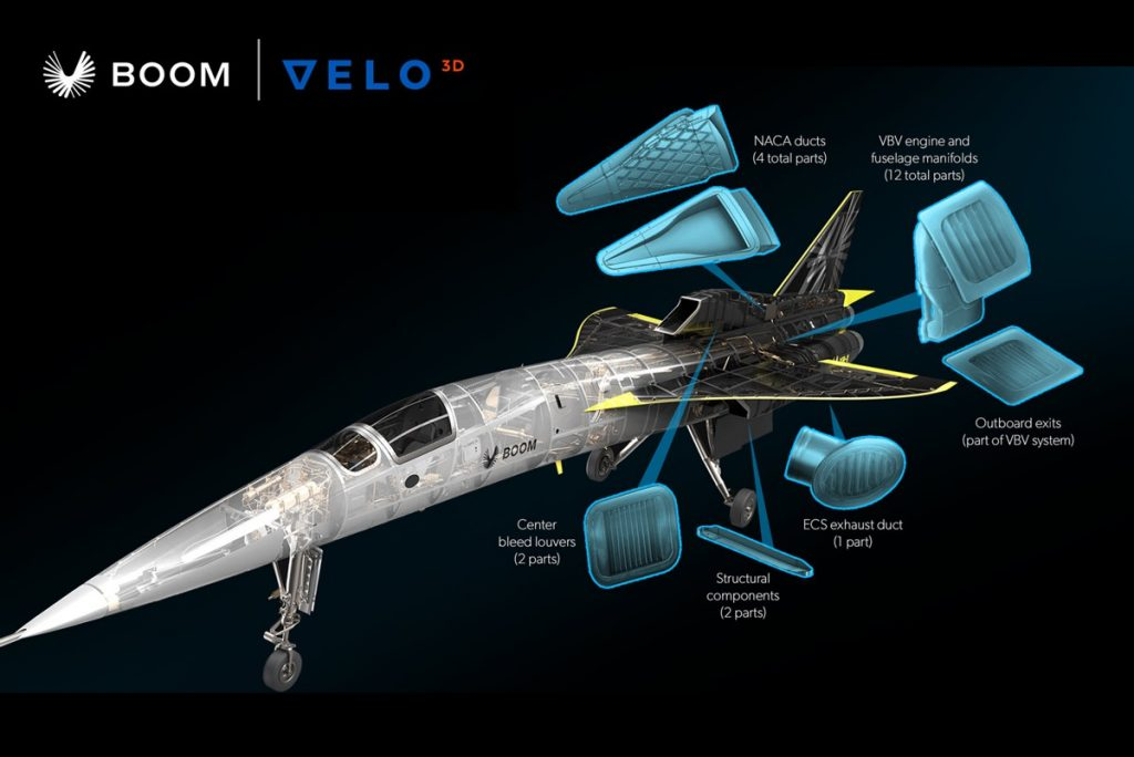XB-1 will fly with Titanium 3D-printed components, most of which perform critical engine operations. All parts are manufactured on VELO3D's Sapphire system. Image credit: Boom Supersonic and VELO3D