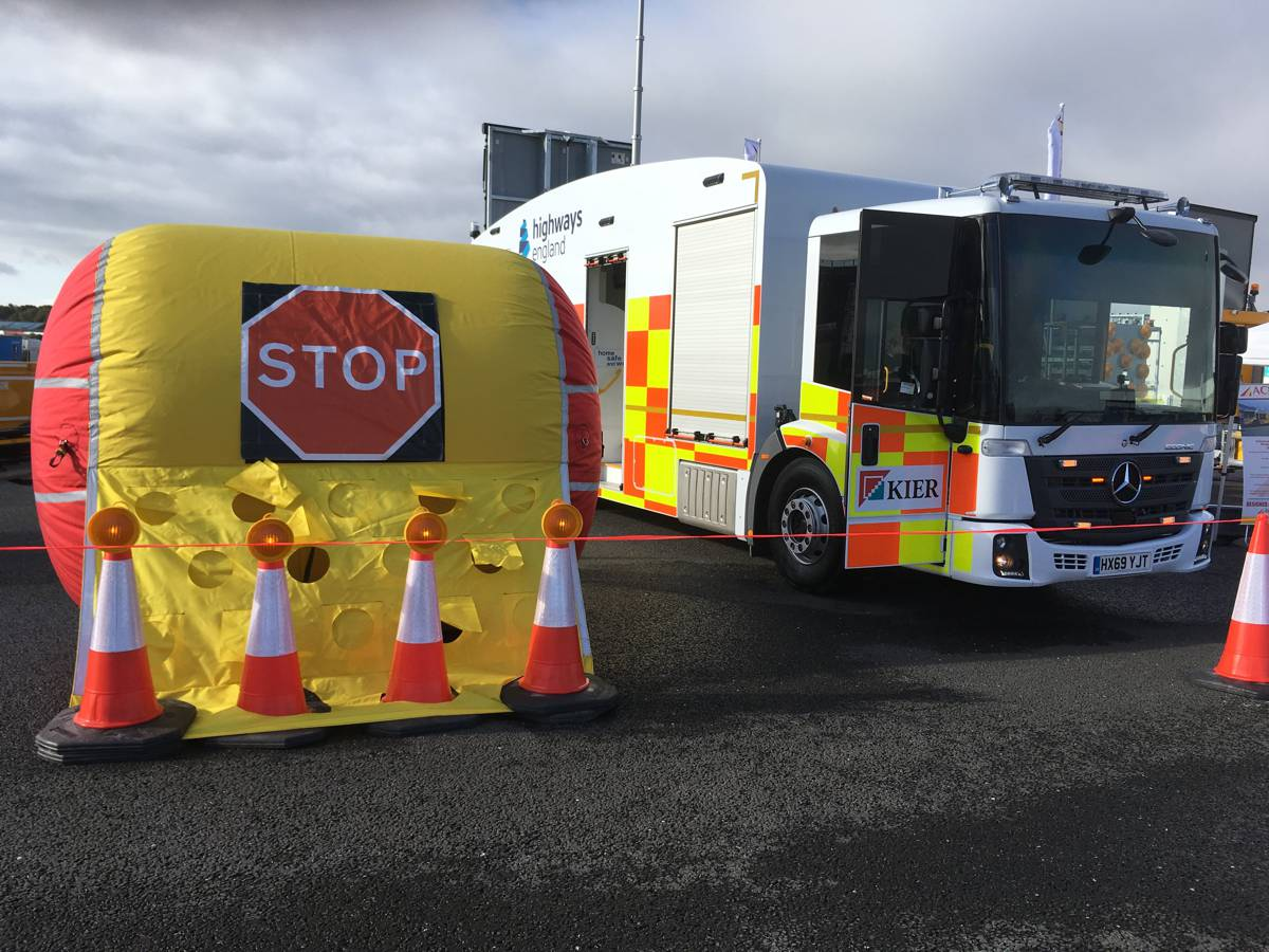 The Vehicle Incursion Airbag that aims to stop motorists driving into work areas at roadworks.
