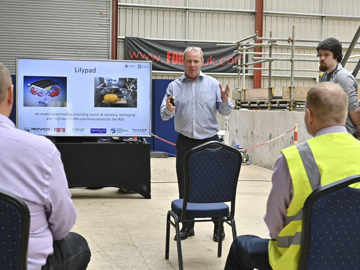 Forth's Programme Manager, Peter Routledge presenting to delegates at the A2I2 Drop One Trials at Forth Engineering's headquarters at Maryport, Cumbria.