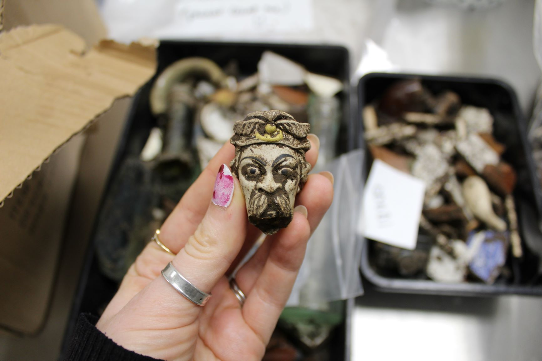 This moustachioed figure, part of a decorated clay pipe bowl, has been unearthed
