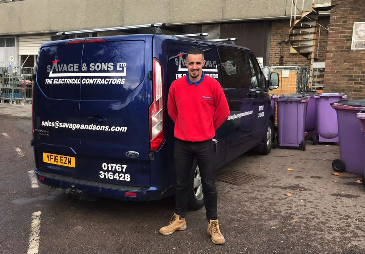 Cameron Care, an apprentice at Savage & Sons Electrical Ltd in Bedfordshire, who will likely switch to electric transport during his career at the small business. Cameron's company has already had their say by taking part in the survey for White Van Plan.