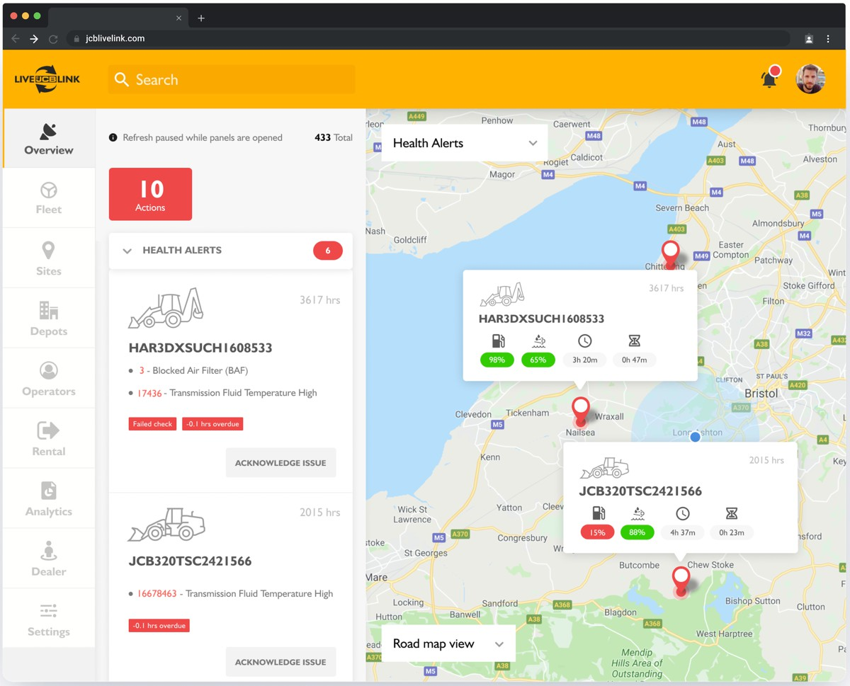 JCB launches the LiveLink telematics portal for machine efficiency