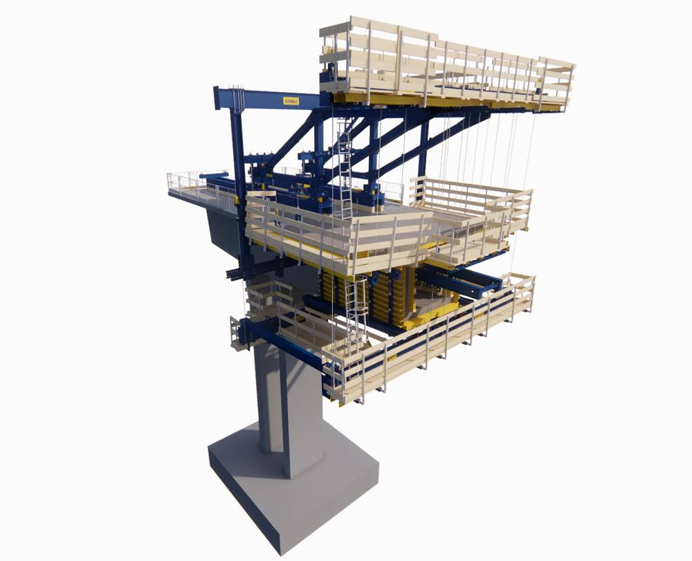 The virtual formwork planning of the Cantilever Forming Traveller using the DokaCAD for Revit planning software supported project implementation on the actual construction site. Copyright Doka