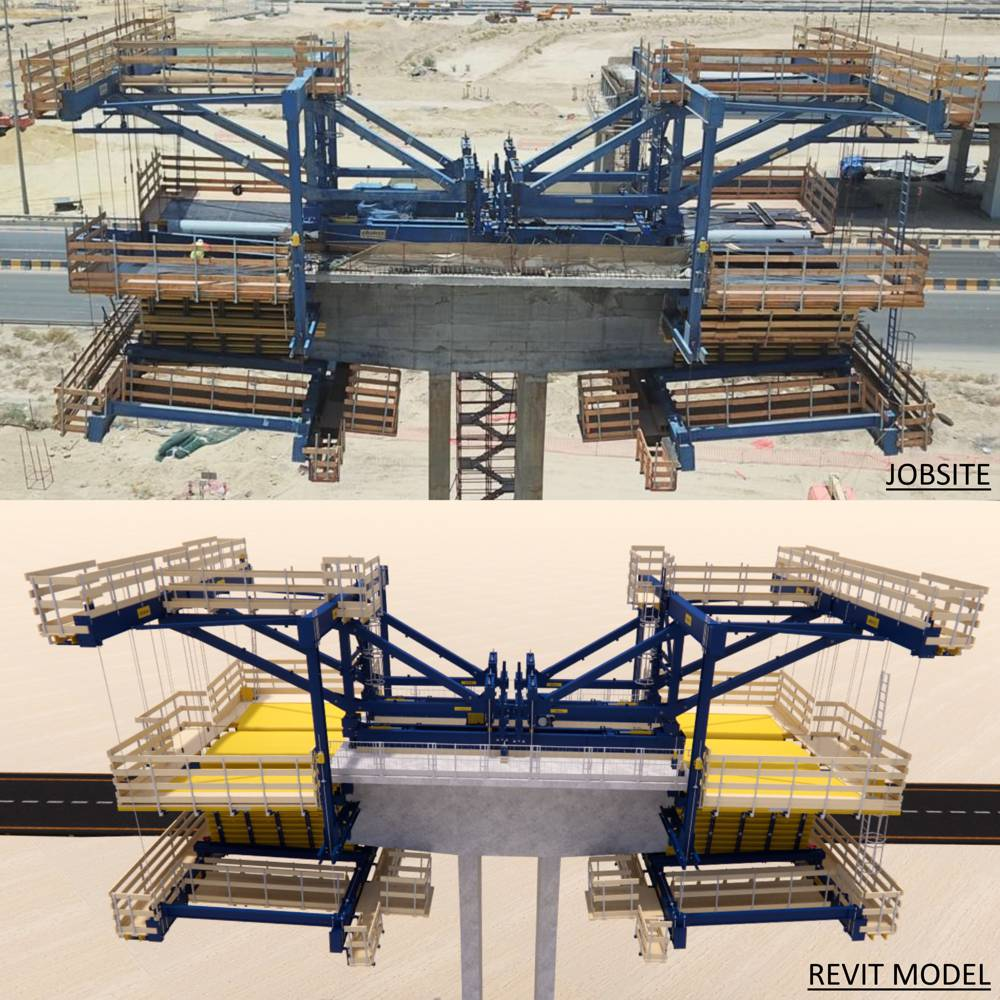 Using 3D modelling techniques, Doka provided an accurate rendering of the CFT in action, prior to erection on site. Copyright Doka
