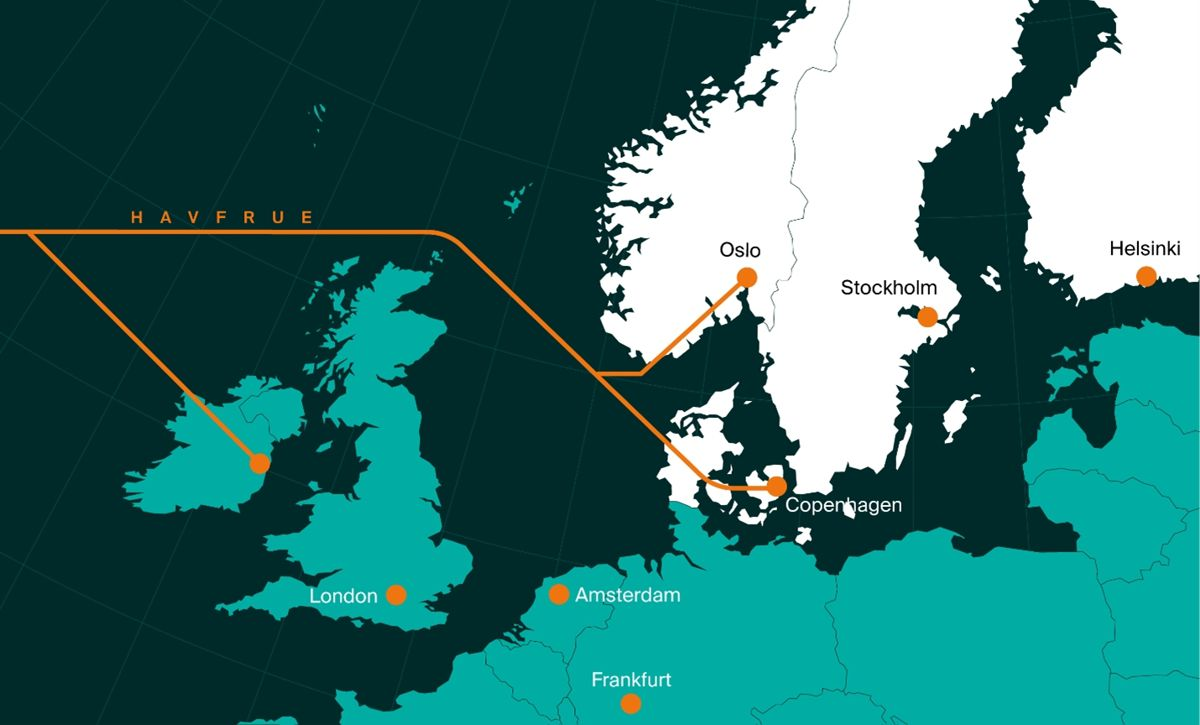 The HAVFRUE Cable System stretches 7200 Kilometers from New Jersey, USA, to the Nordic countries