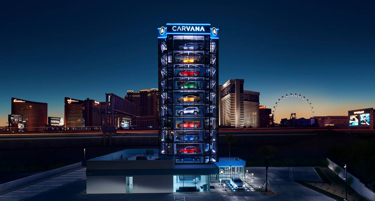 Carvana's colourful new Car Vending Machine delivers with a spin in Las Vegas