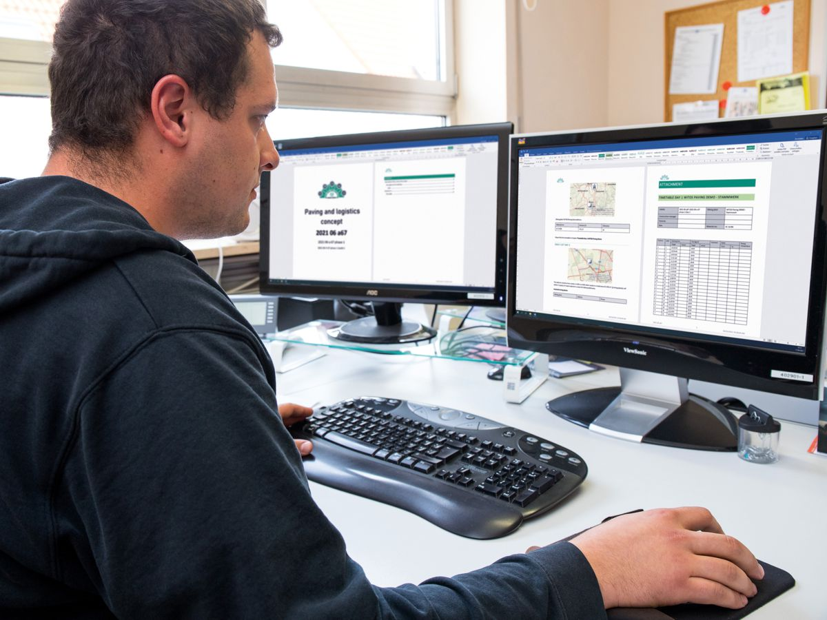 New WITOS Paving Plus function: once the relevant planning data has been entered, planners and construction managers can create a template for a paving and logistics concept and have it output in the form of a document which can be edited.