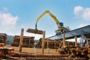 SENNEBOGEN Rail Gantry Electric Material Handler sorts the wood at German sawmill