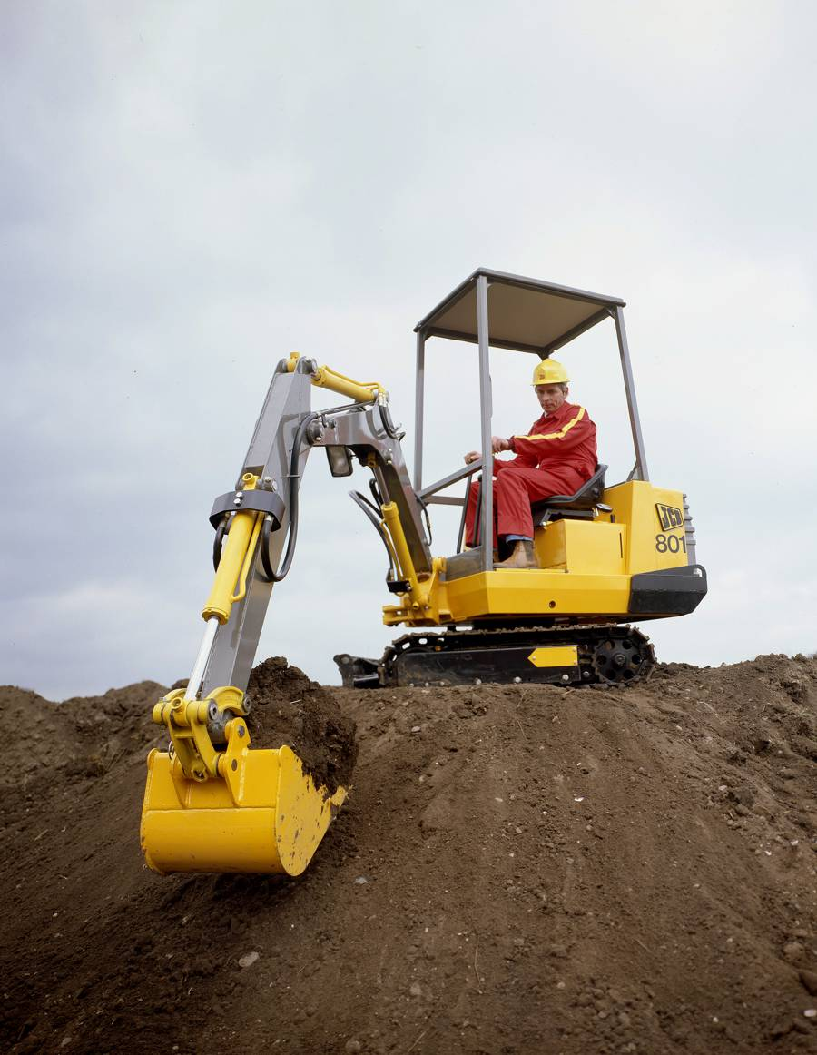 An early JCB mini excavator which engineer Bill Turnbull helped to develop