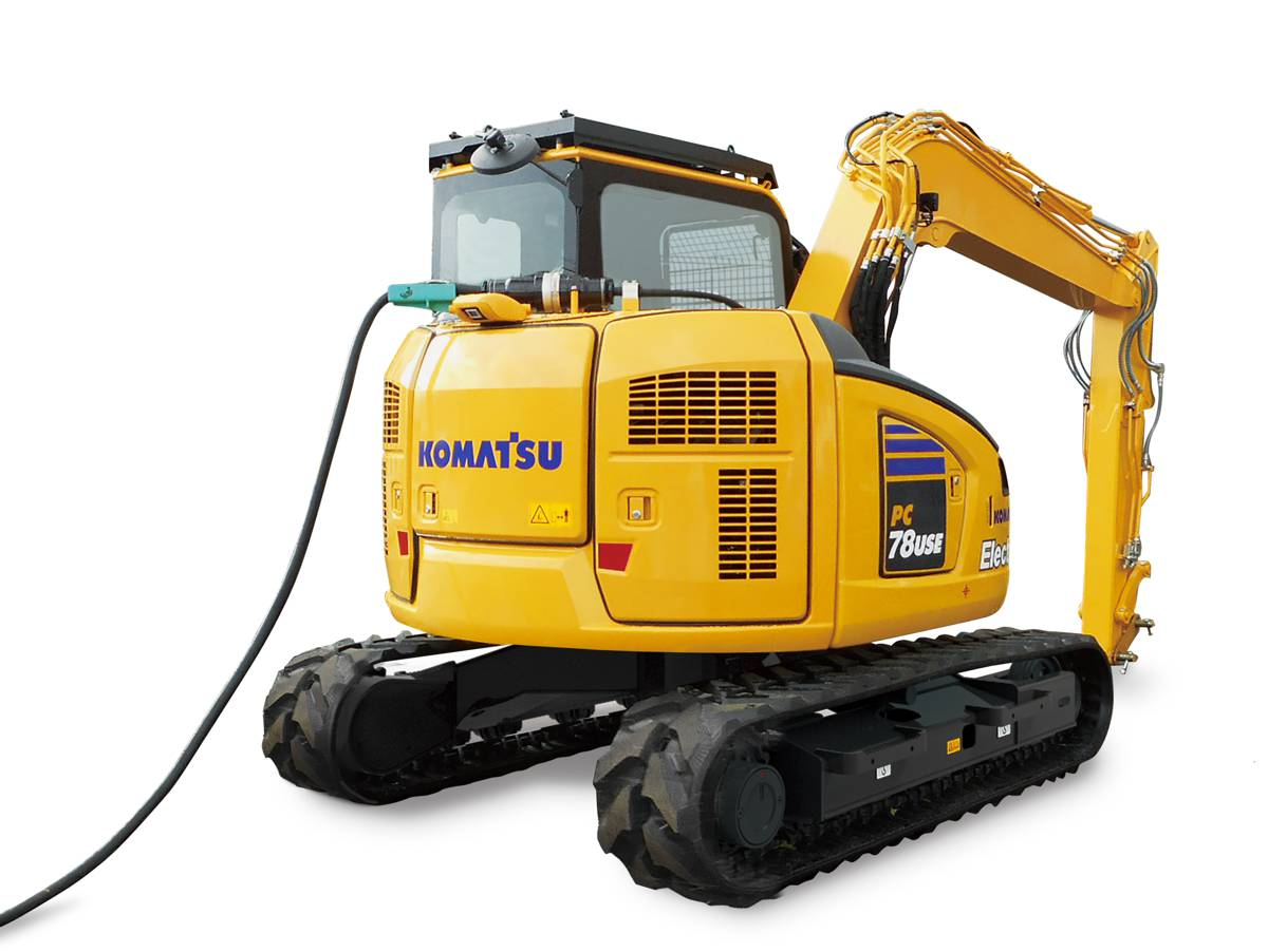 New Komatsu electric Excavator uses a tethered power cable for non-stop efficiency