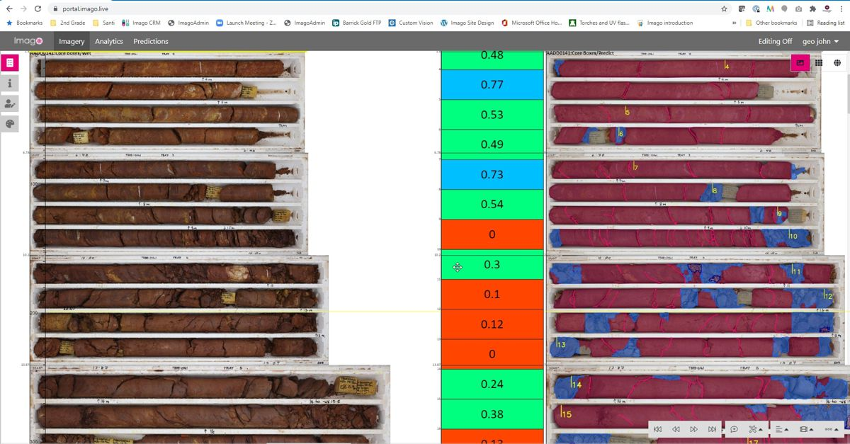 Imago establishes a consistent process for capturing high-quality images, which integrate with existing workflows and allow the application of machine learning. Imago instantly displays machine learning insights together with images during interpretation and modeling. Imago's on-screen masking and classification tools export data to train models. The Imago Cloud library of geology images provides rich information that supports user interpretation and modeling work.