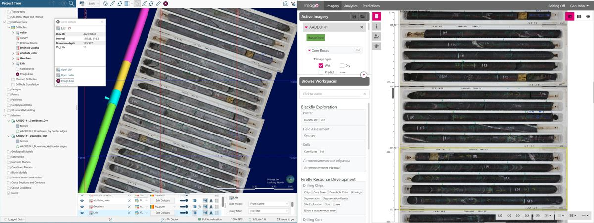 Core boxes displayed in Imago's platform (right) and in Leapfrog Geo (left). The geologist clicks the drill hole trace to display the corresponding core photos in Imago, as a drill hole, at the correct path. The geologist is able to continuously validate the logs and assays using the original images of the rock material.
