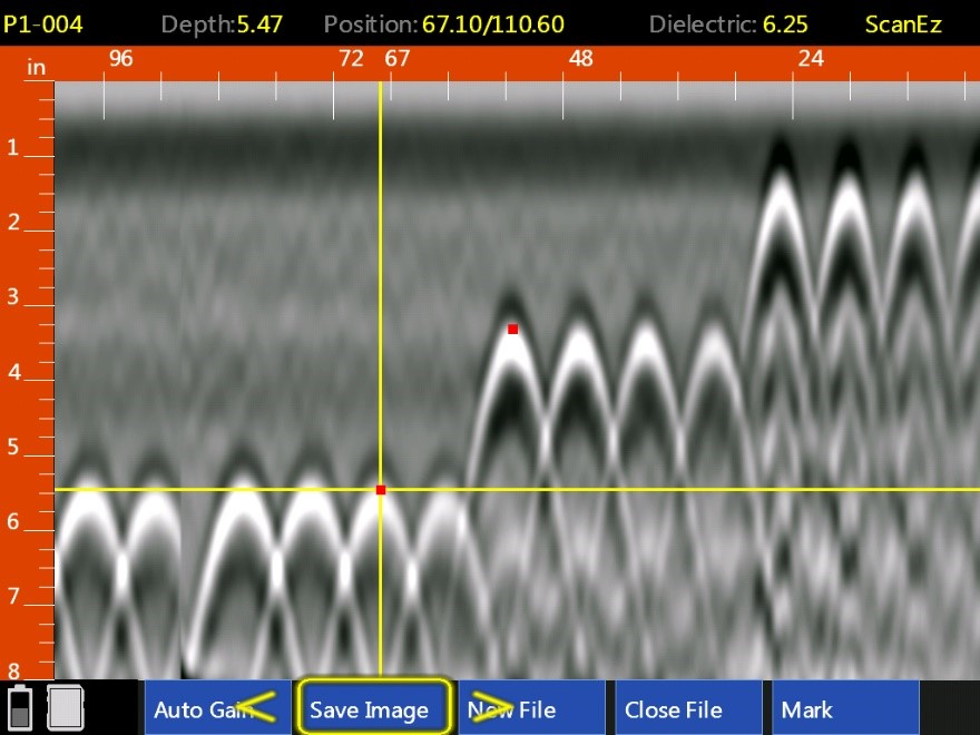 image from a 2.7 GHz frequency antenna showing a series of hyperbolas. These hyperbolas correspond to pieces of rebar located at different depths ranging from 1 to 5 inches.