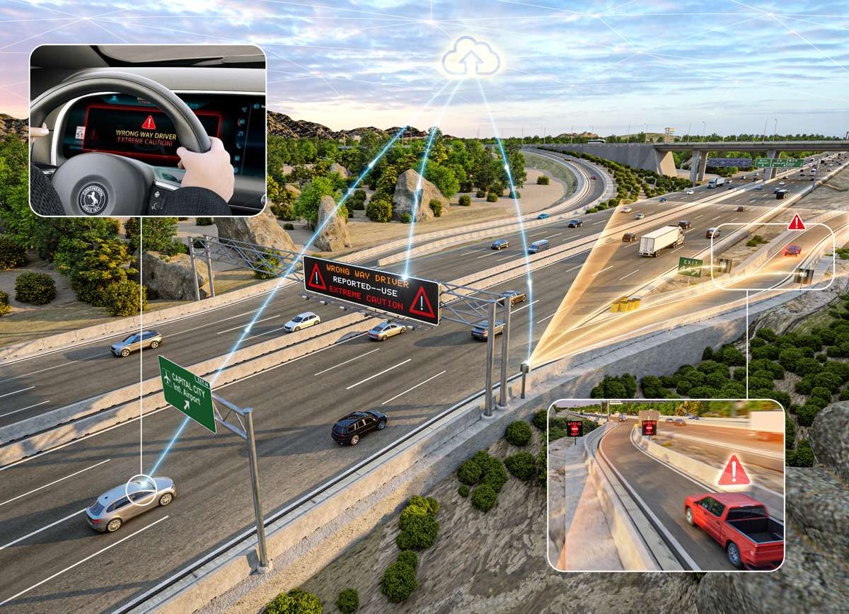 Continental's WWD technology detects cars traveling the wrong way and alerts other drivers. This life-saving technology is being piloted in Auburn Hills, Michigan.