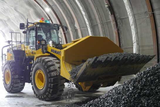 Komatsu WA470 Wheel Loader aids automated tunnel construction